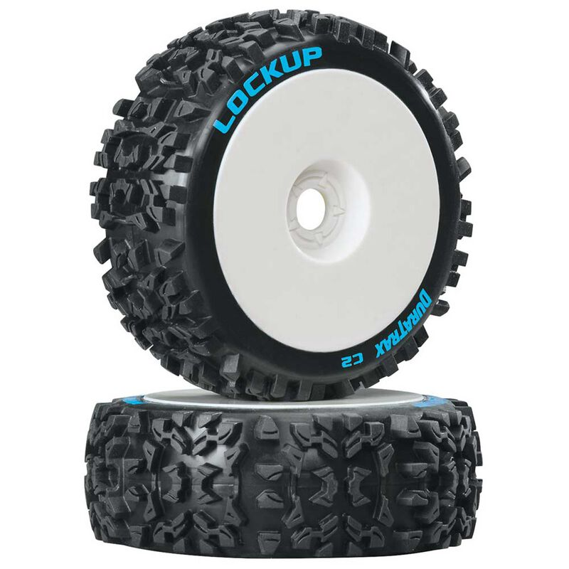 Lockup 1/8 C2 Mounted Buggy Tires, White (2)
