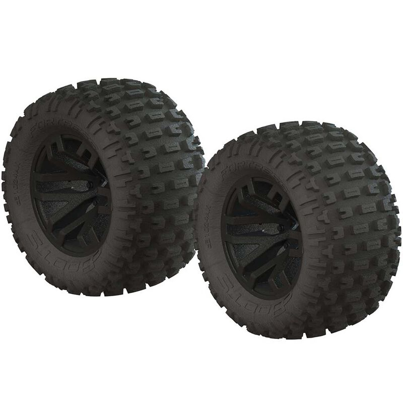 1/10 dBoots Fortress MT 2.2/3.0 Pre-Mounted Tires, 14mm Hex, Black (2)