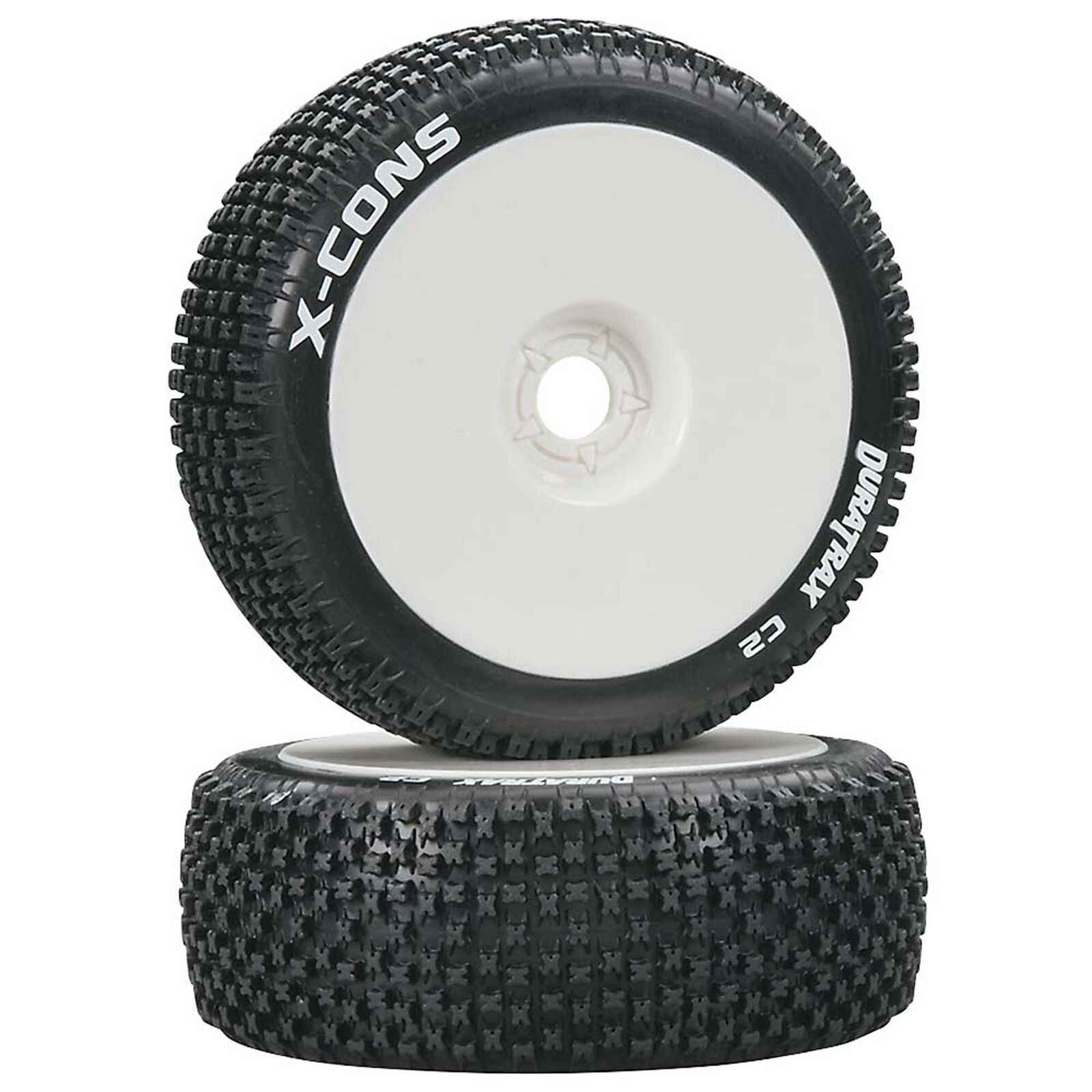 X-Cons 1/8 C2 Mounted Buggy Tires, White (2)