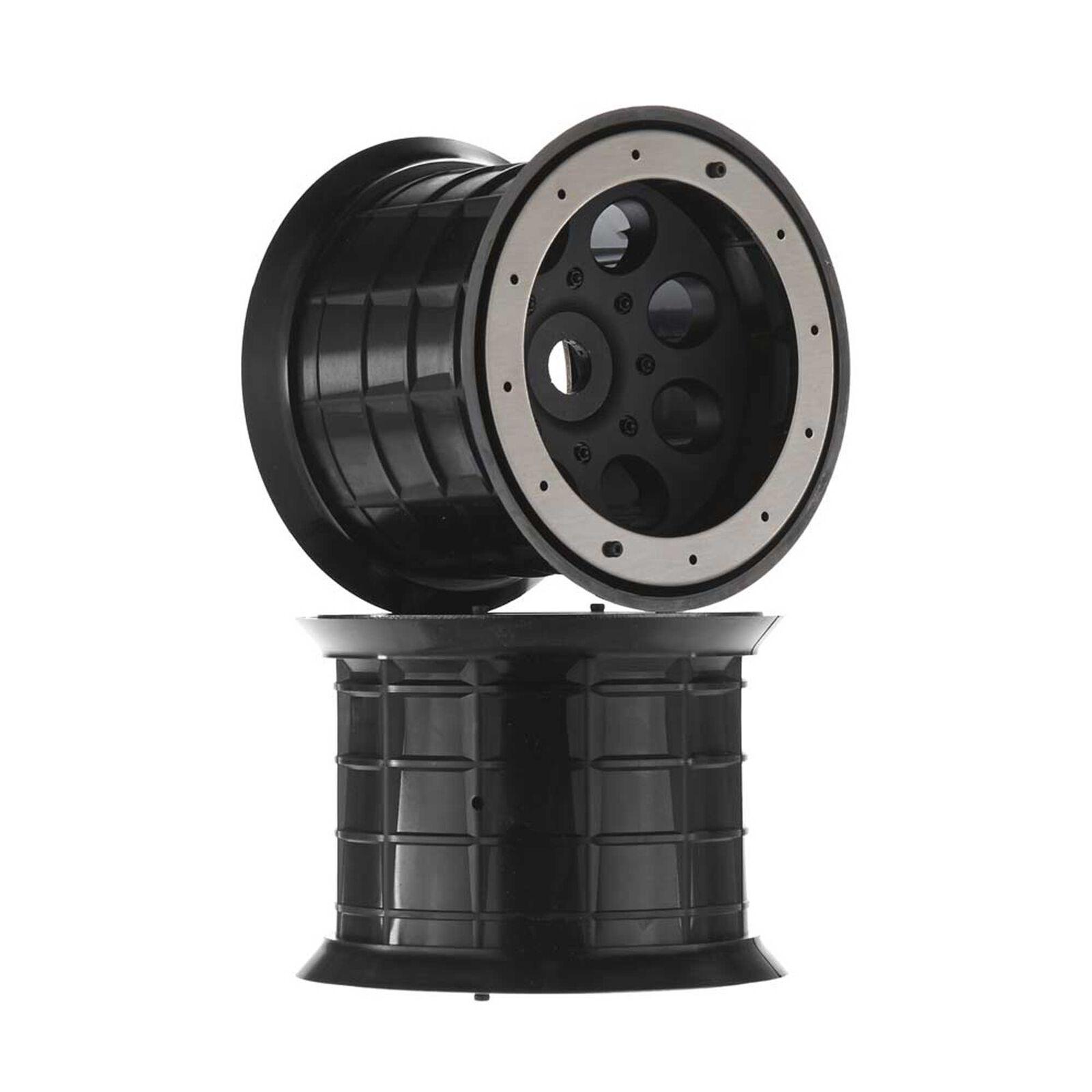 1/8 Oversize 8-Hole 3.8 Beadlock Wheels, 17mm Hex, Black (2)
