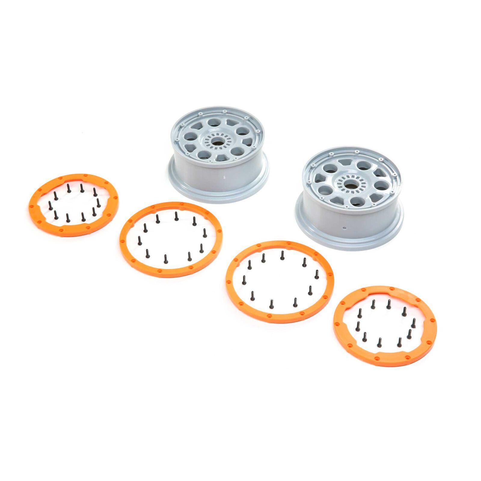 1/5 Front/Rear 4.75 Beadlock Wheels, 24mm Hex, Silver/Orange (2): DBXL-E 2.0