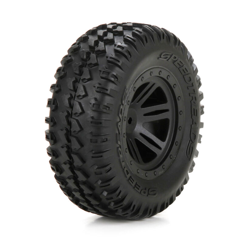 Front Tire, Premounted, Black Wheel (2): 1/10 AMP DB
