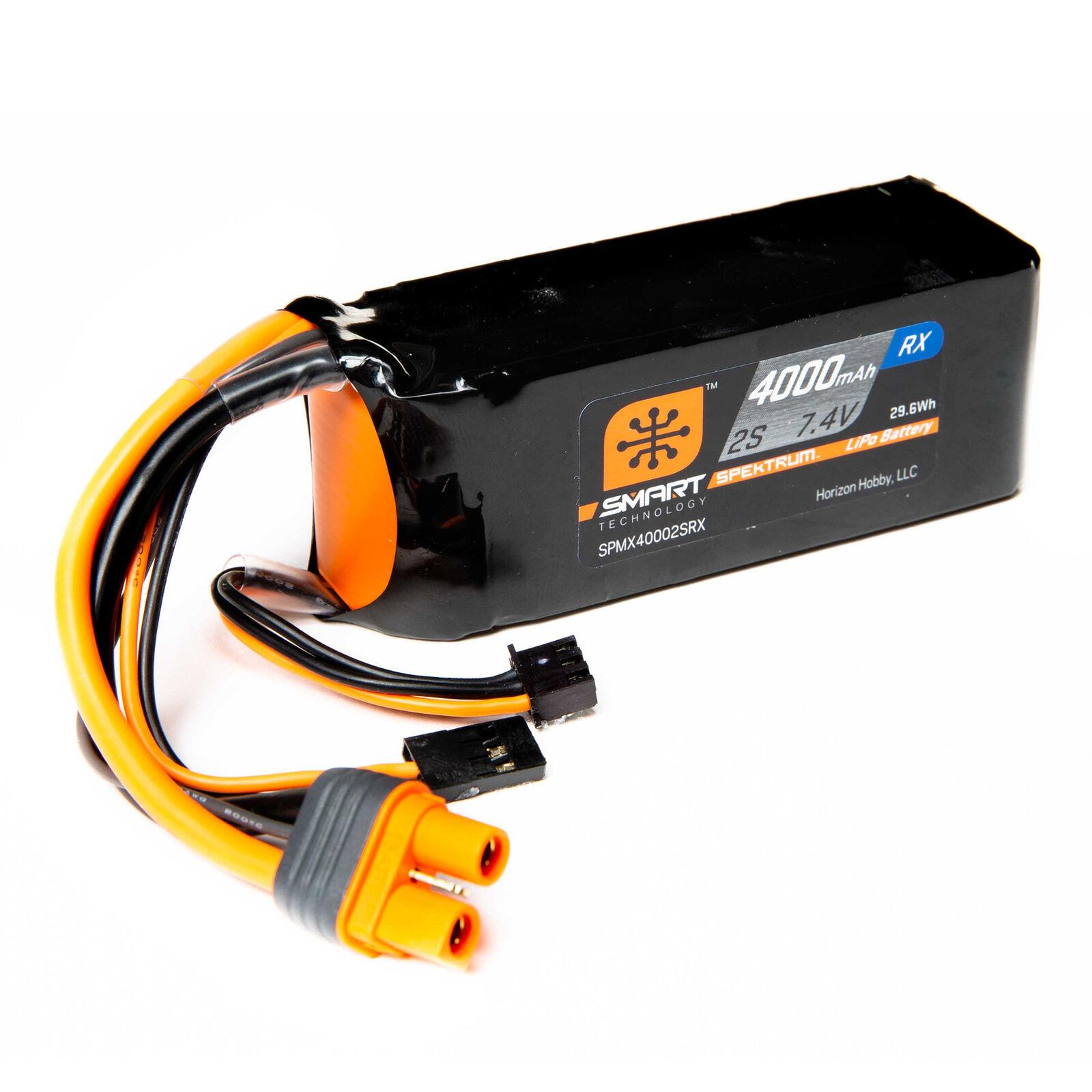 7.4V 4000mAh 2S 15C Smart LiPo Receiver Battery: Universal Receiver, IC3