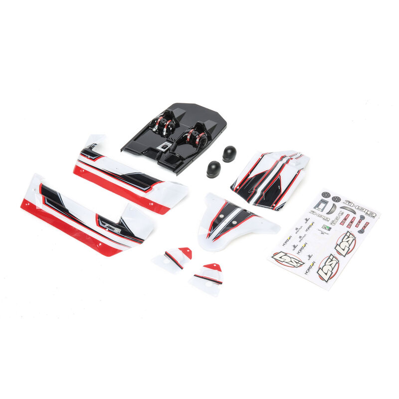 1/14 Painted Body Set, White/Red: Mini 8IGHT-DB