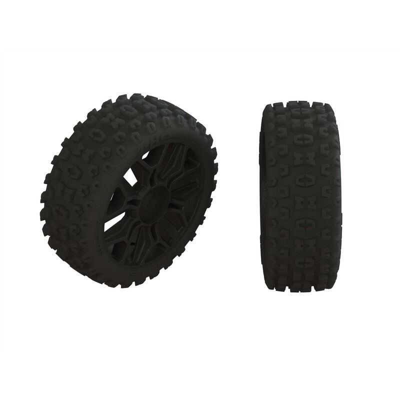 1/8 2HO Front/Rear 3.3 Pre-Mounted Tires, 17mm Hex, Black (2)