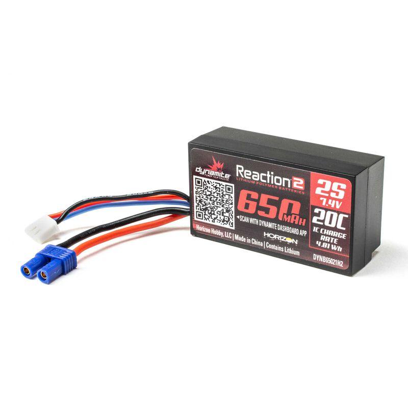 7.4V 650mAh 2S 20C Hardcase LiPo Battery: EC2