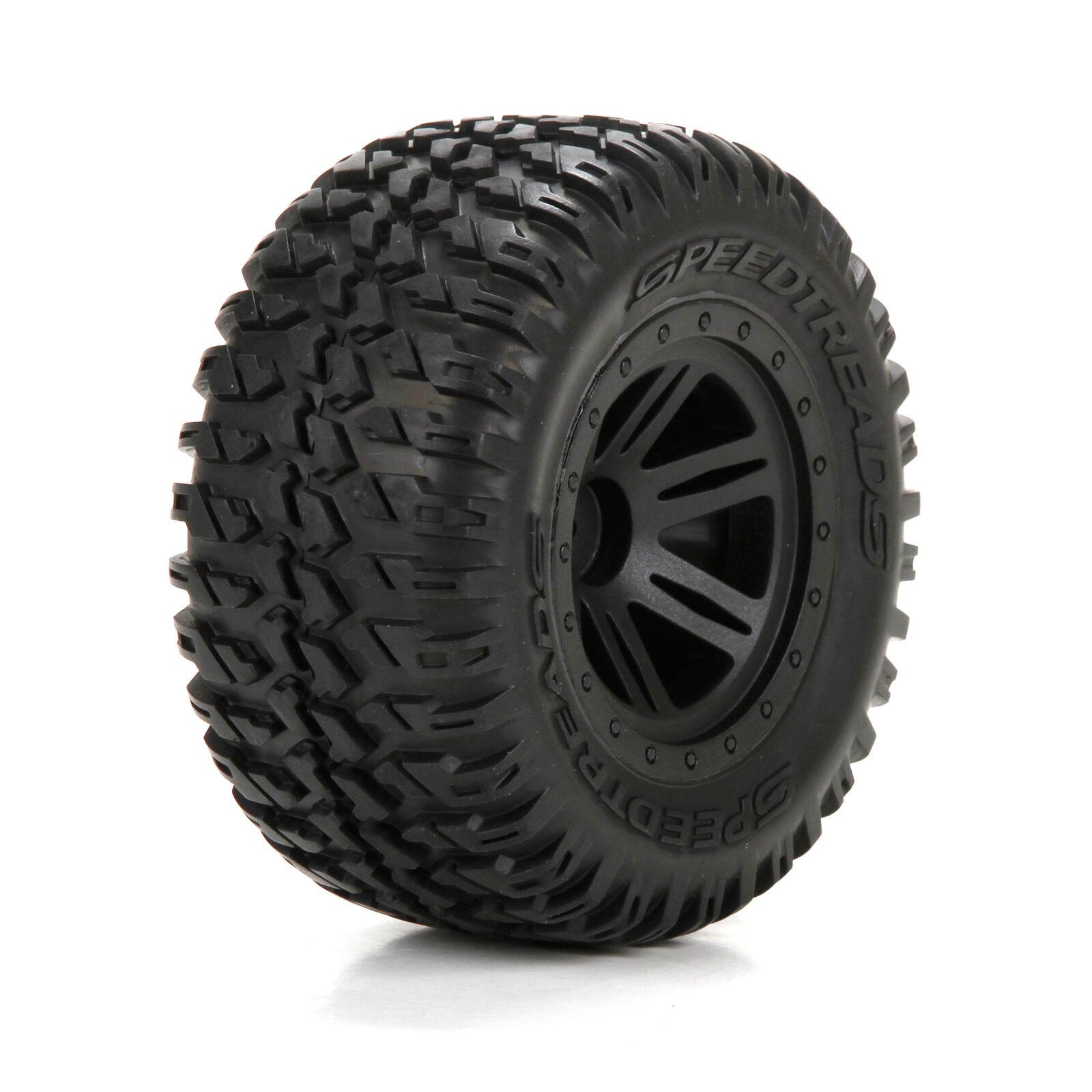 Front/Rear Tire, Premounted, Black Wheel (2): 1/10 AMP MT/DB