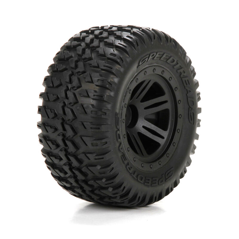 Front/Rear Tire, Premounted, Black Wheel (2): 1/10 AMP MT/DB