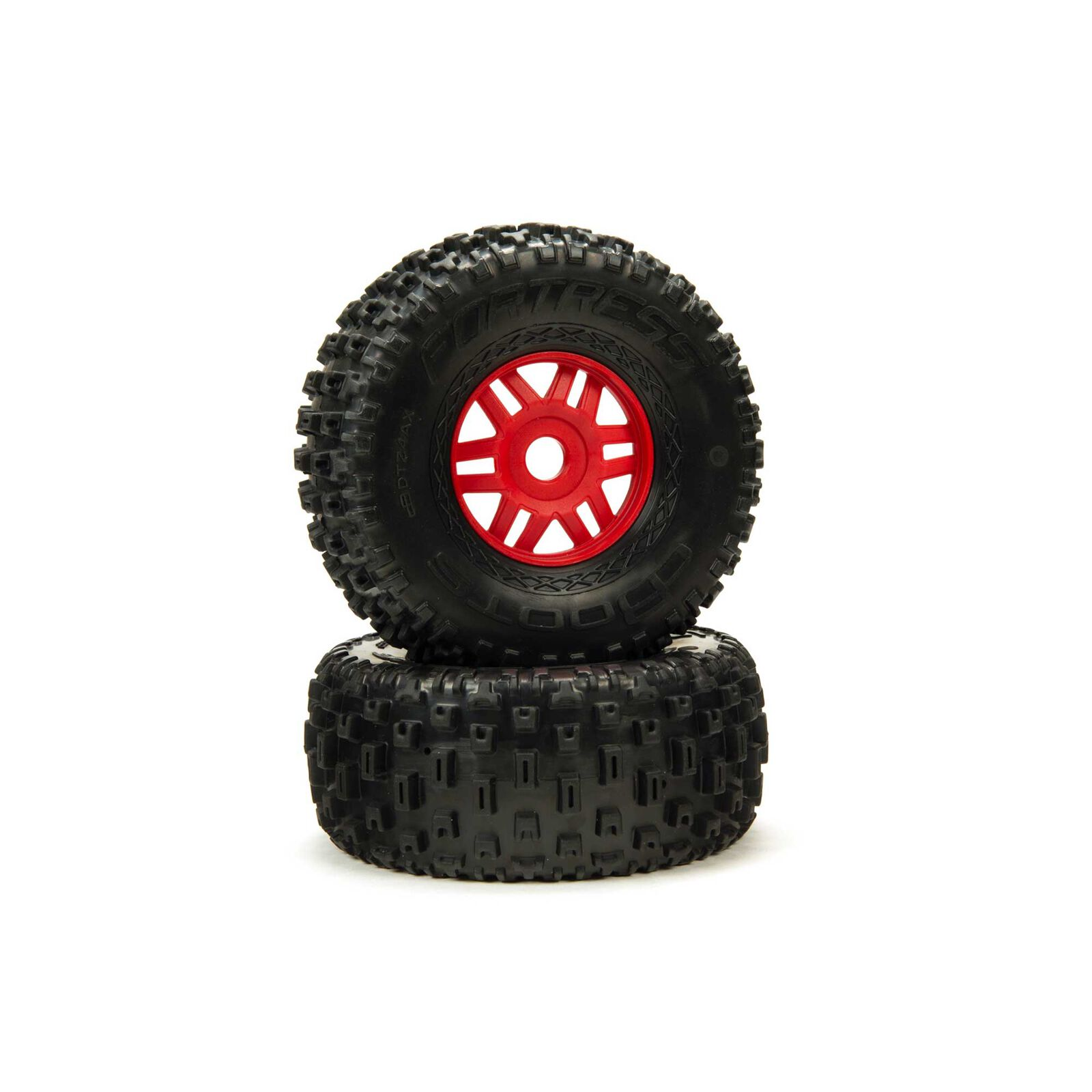 1/8 dBoots Fortress Front/Rear 2.4/3.3 Pre-Mounted Tires, 17mm Hex, Red (2)