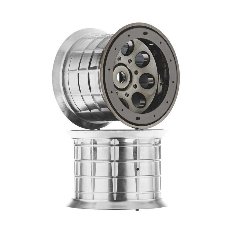 1/8 Oversize 8-Hole 3.8 Beadlock Wheels, 17mm Hex, Black Chrome (2)