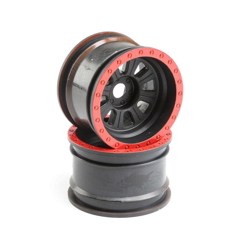 1/6 Front/Rear 3.6 Wheels, 20mm Hex, Black (2): Super Rock Rey