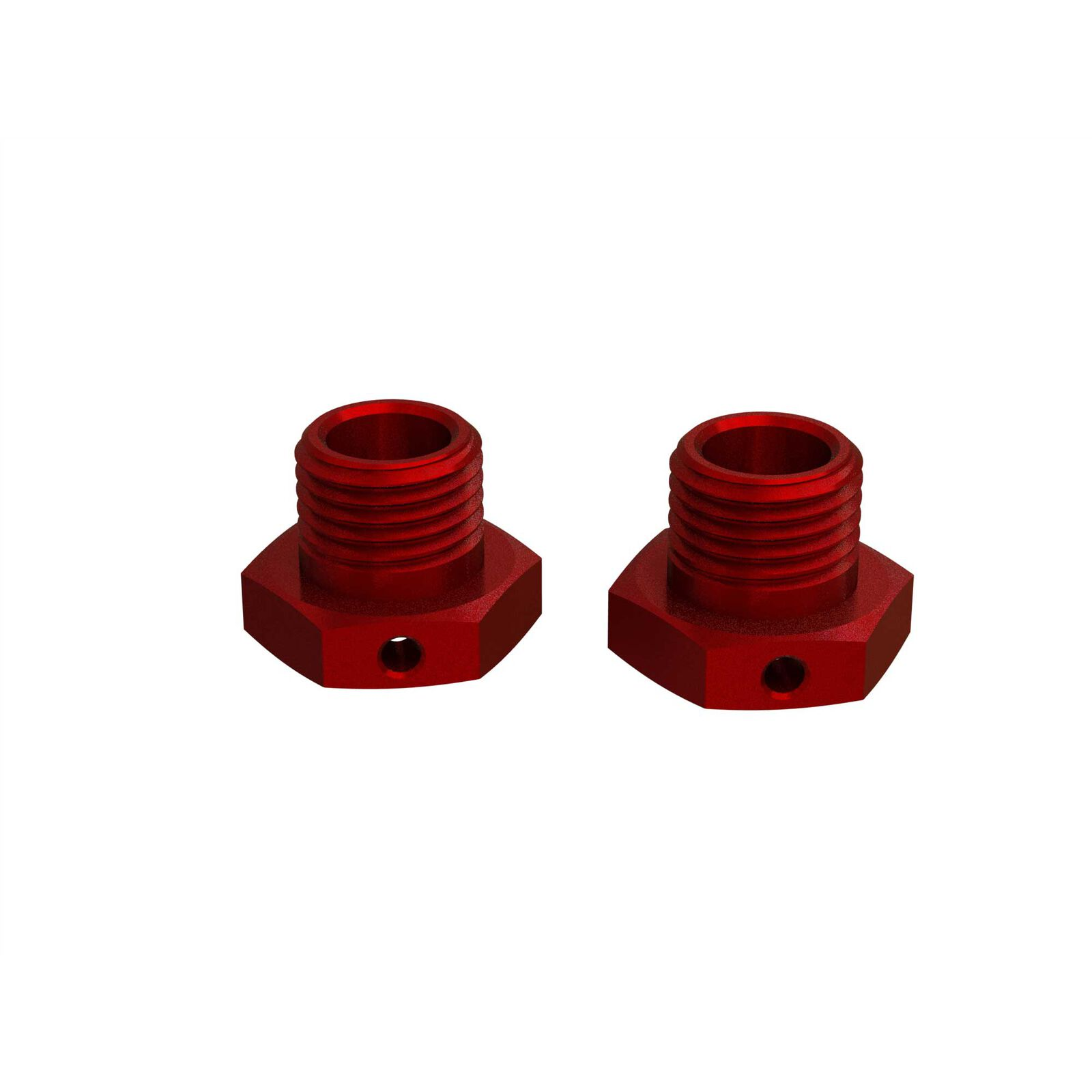 Aluminum Wheel Hex 17mm 14.6mm Thick Red (2)