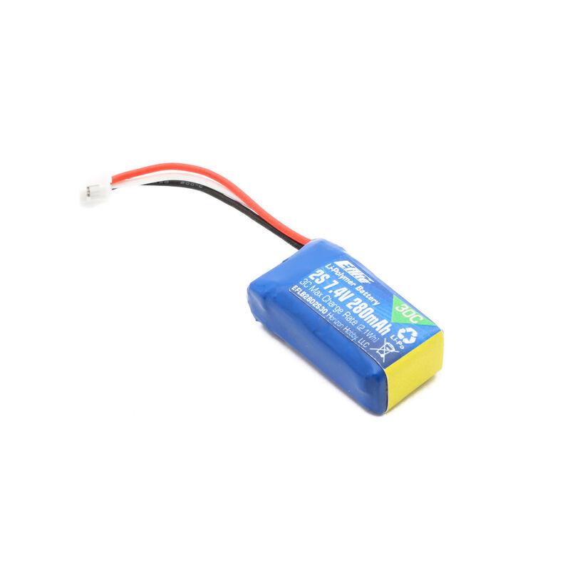 7.4V 280mAh 2S 30C LiPo Battery: PH
