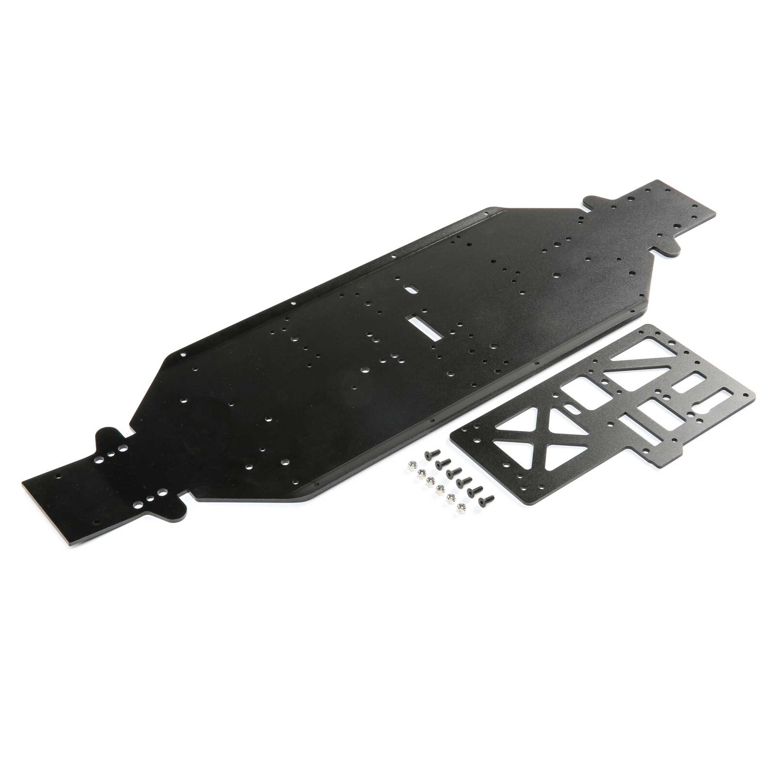 Chassis with Brace, 4mm Black: DBXL-E 2.0