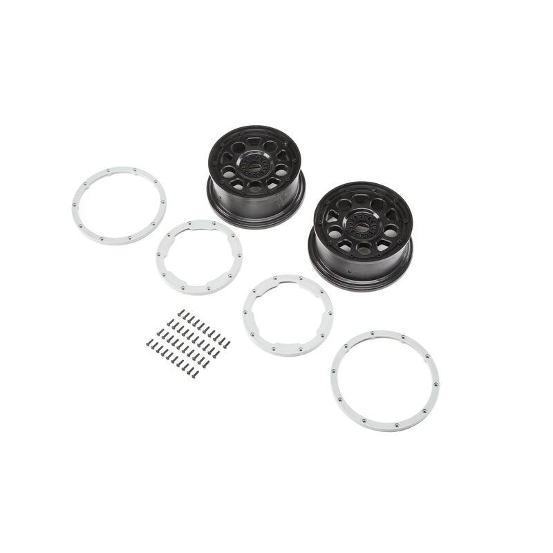 Wheel Black  Beadlock Silver (2)  DBXL-E