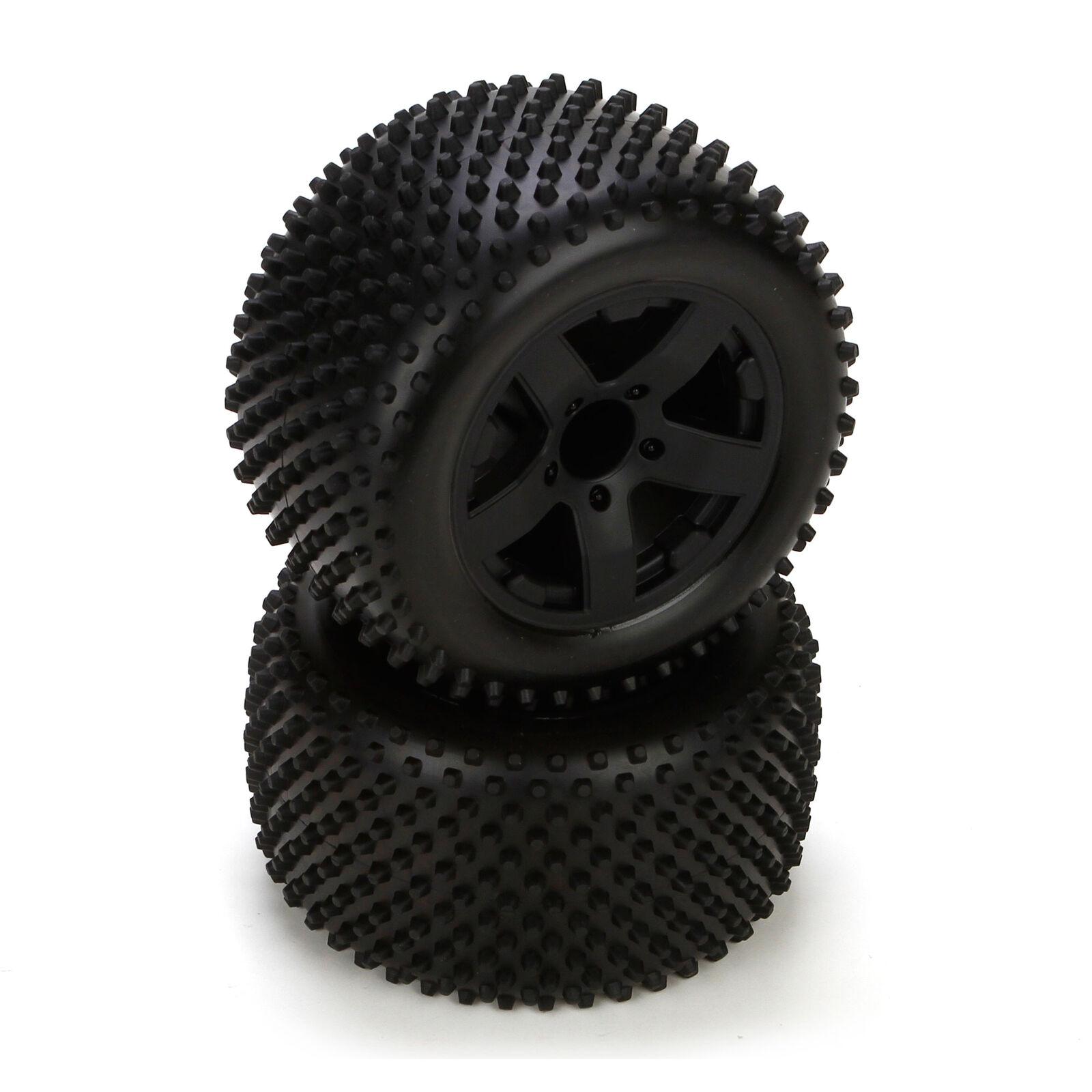 Rear Tire, Premount, Black Wheel (2): 1/10 2WD Circuit