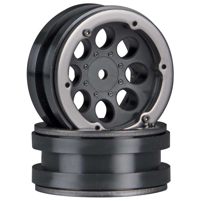 1/10 8-Hole 1.9 Beadlock Wheels, 12mm Hex, Black (2)