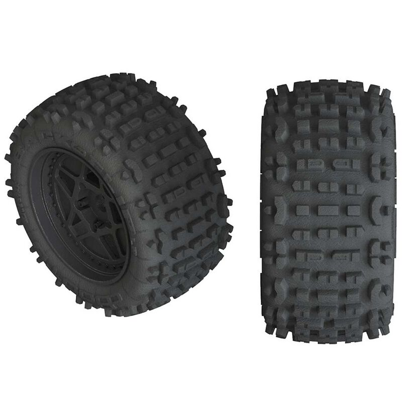 1/10 dBoots Backflip LP Front/Rear 3.8 Pre-Mounted Tires, 17mm Hex, Black (2): 4S