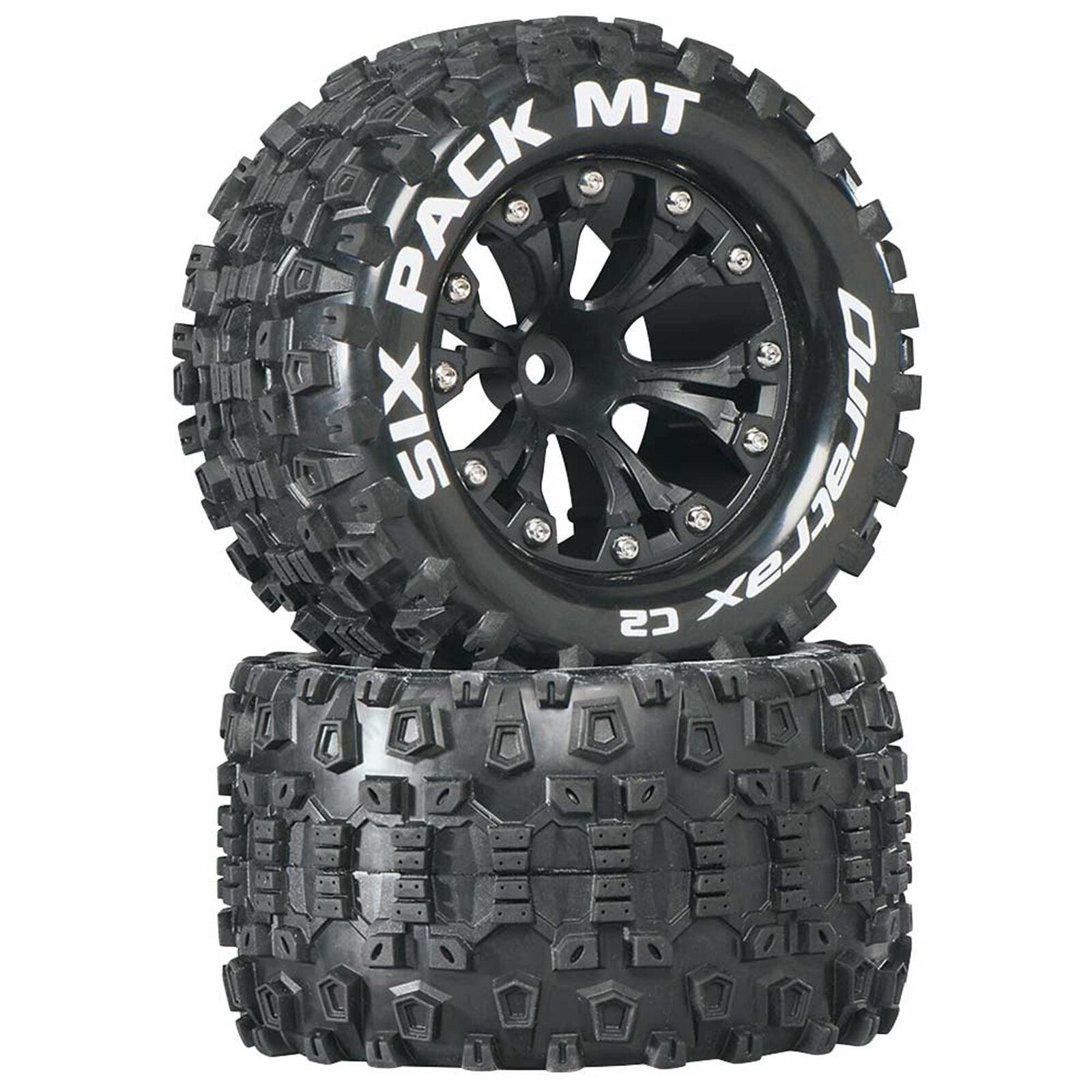 """Six-Pack MT 2.8"""" 2WD Mounted 1/2"""" Offset Tires, Black (2)"""