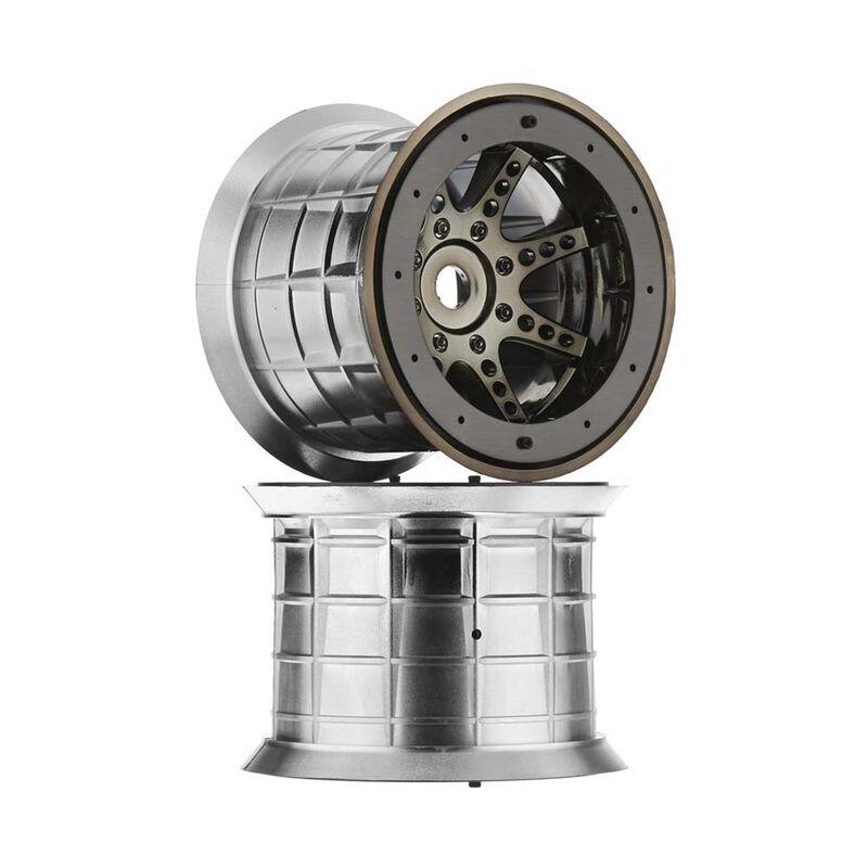 1/8 Oversize 8-Spoke 3.8 Beadlock Wheels, 17mm Hex, Black Chrome (2)