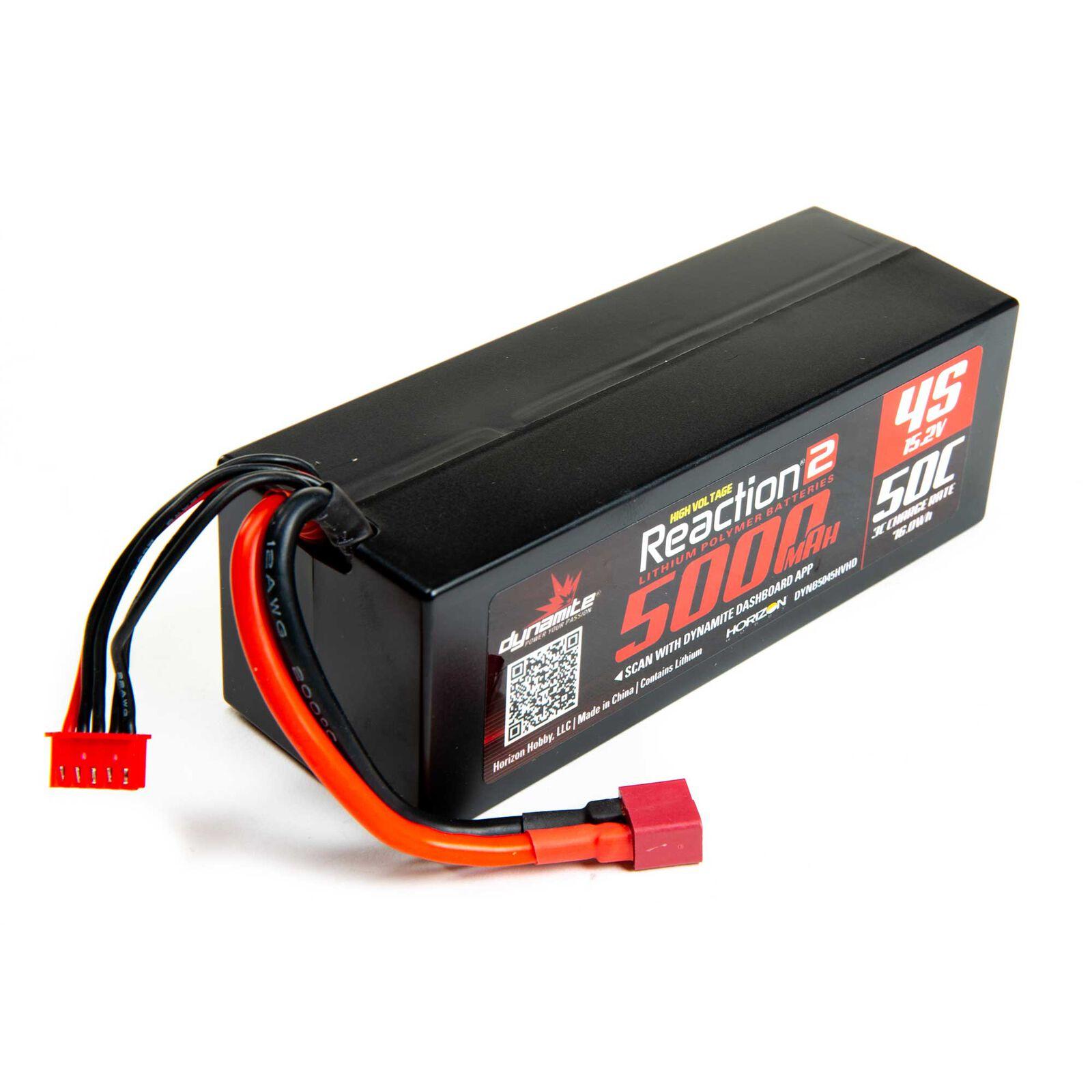 15.2V 5000mAh 4S 50C Reaction 2.0 Hardcase HV-LiPo Battery: Deans