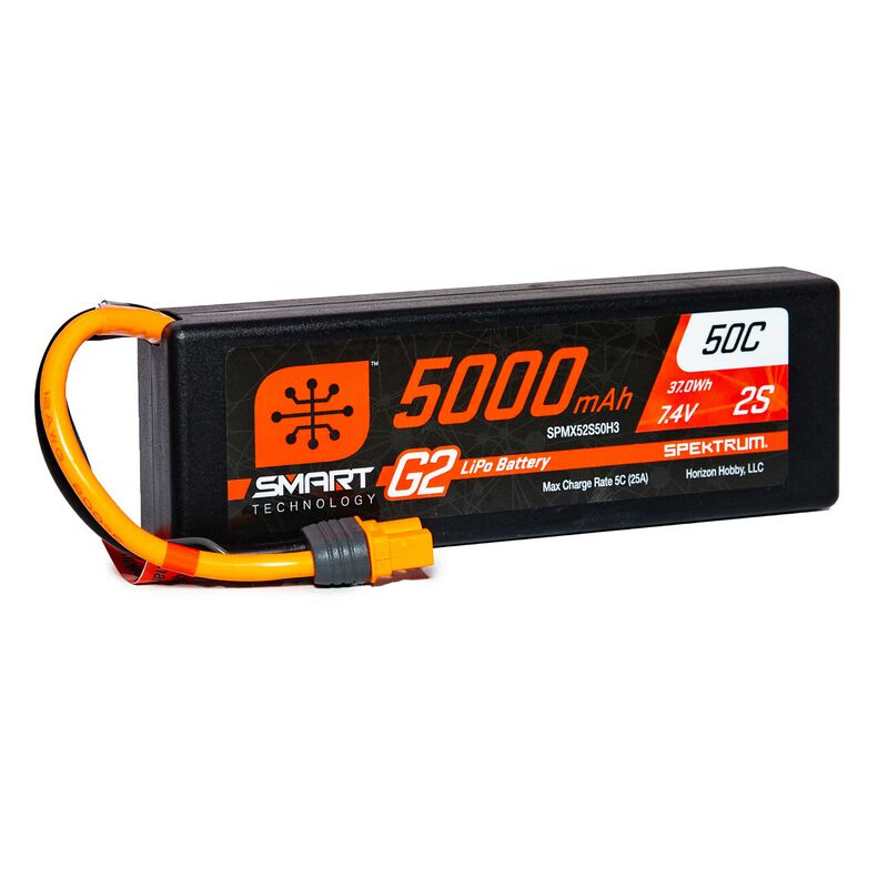 7.4V 5000mAh 2S 50C Smart LiPo G2 Hard Case: IC3