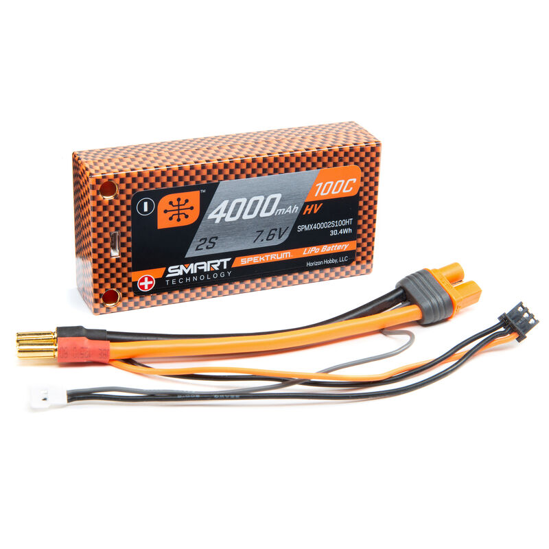 7.6V 4000mAh 2S 100C Smart Race Shorty Hardcase HV-LiPo Battery: Tubes, 5mm
