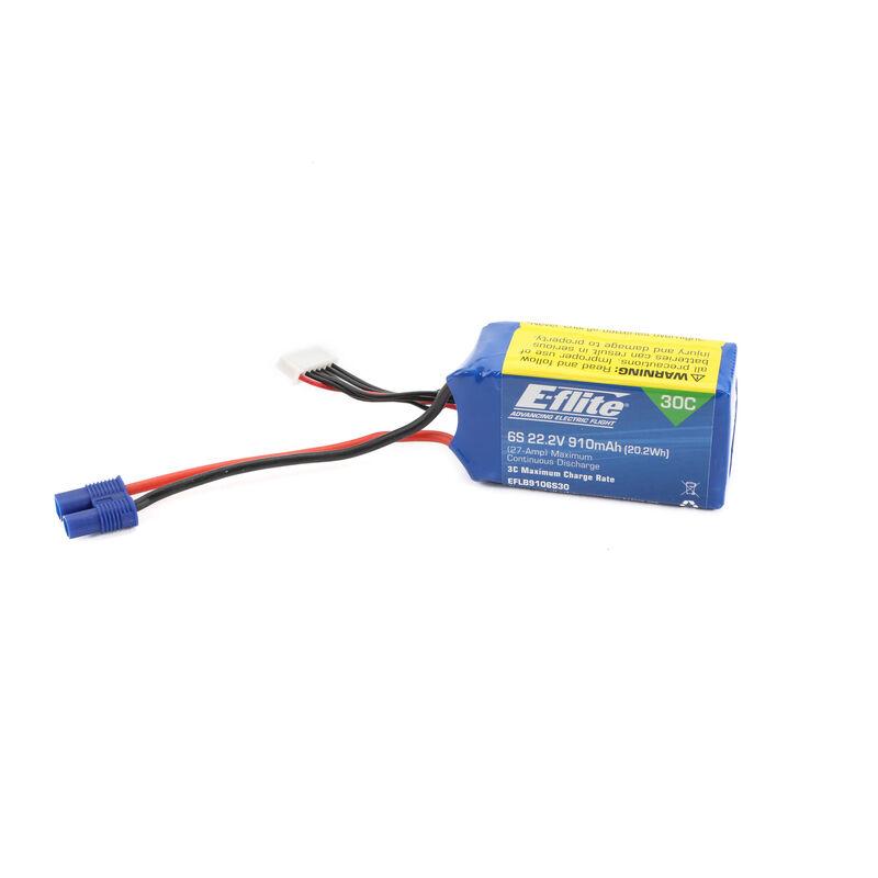22.2v 910mAh 6S 30C LiPo Battery: EC3