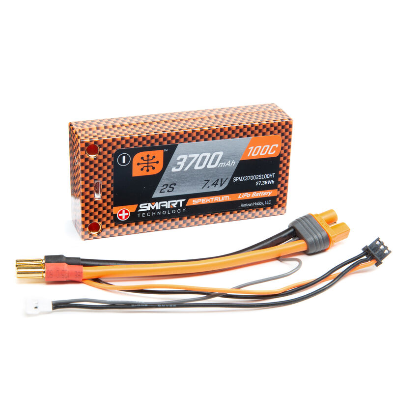 7.4V 3700mAh 2S 100C Race Shorty Hardcase Smart LiPo Battery: Tubes, 5mm