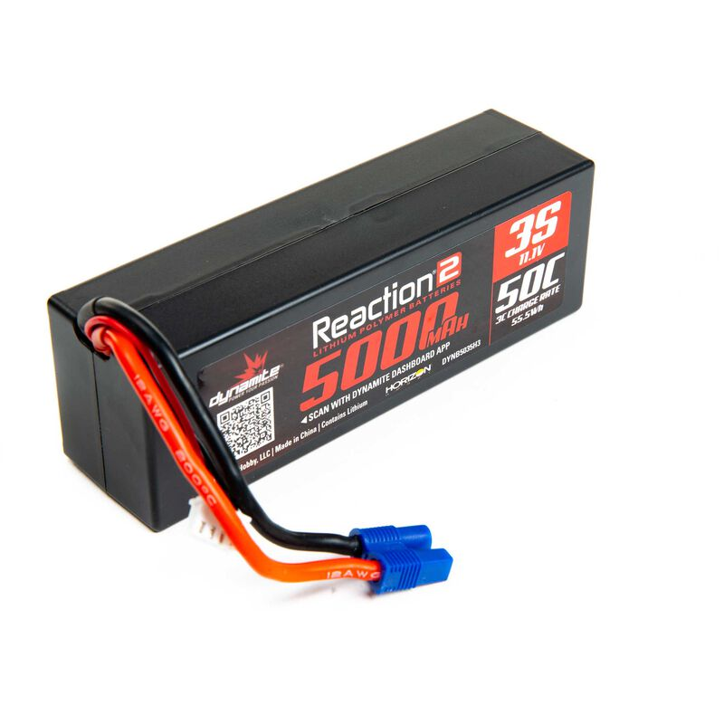 11.1V 5000mAh 3S 50C Reaction 2.0 Hardcase LiPo Battery: EC3