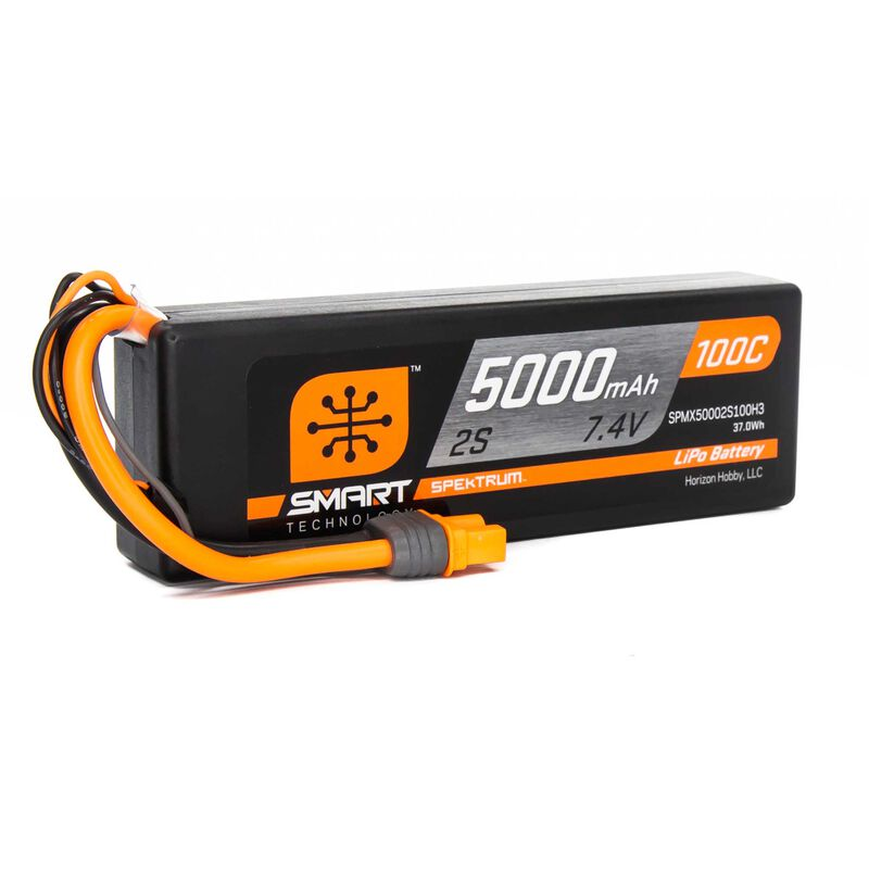 7.4V 5000mAh 2S 100C Smart Hardcase LiPo Battery: IC3