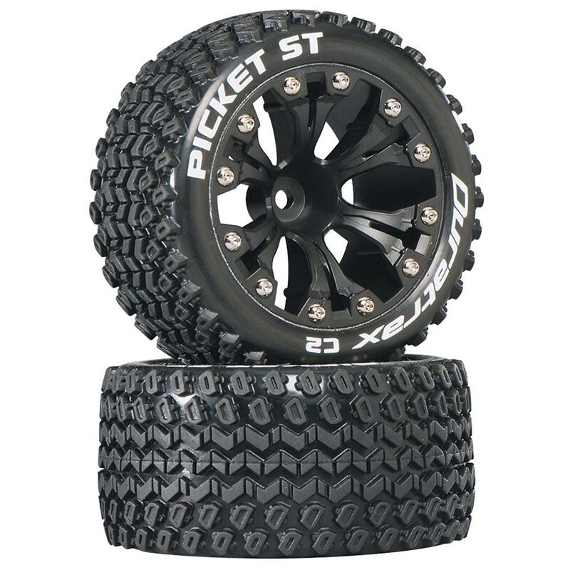 "Picket ST 2.8"" 2WD Mounted 1/2"" Offset Tires, Black (2)"