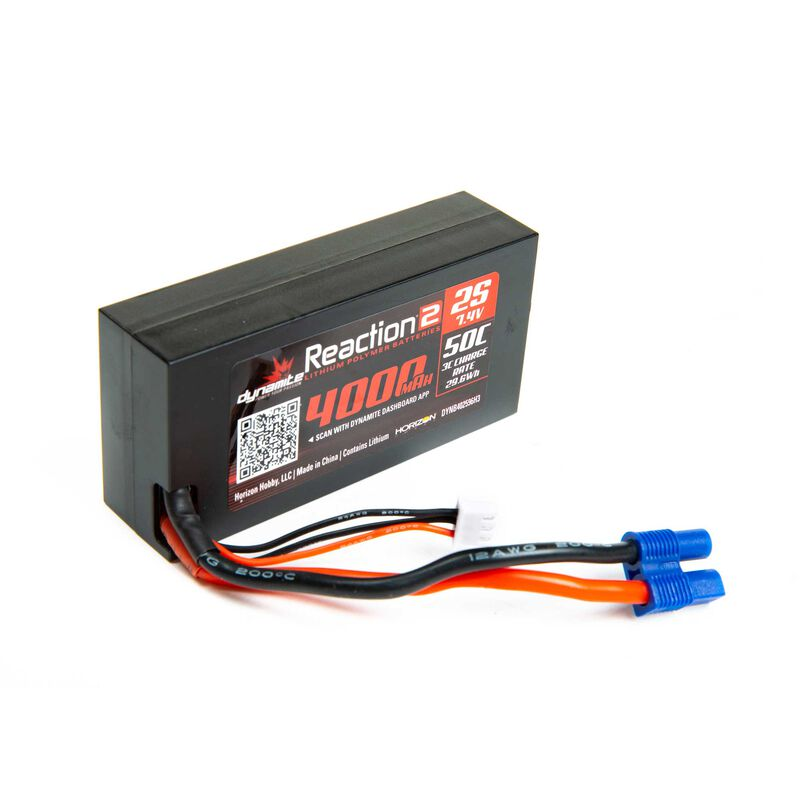 7.4V 4000mAh 2S 50C Reaction 2.0 Hardcase LiPo Battery: EC3