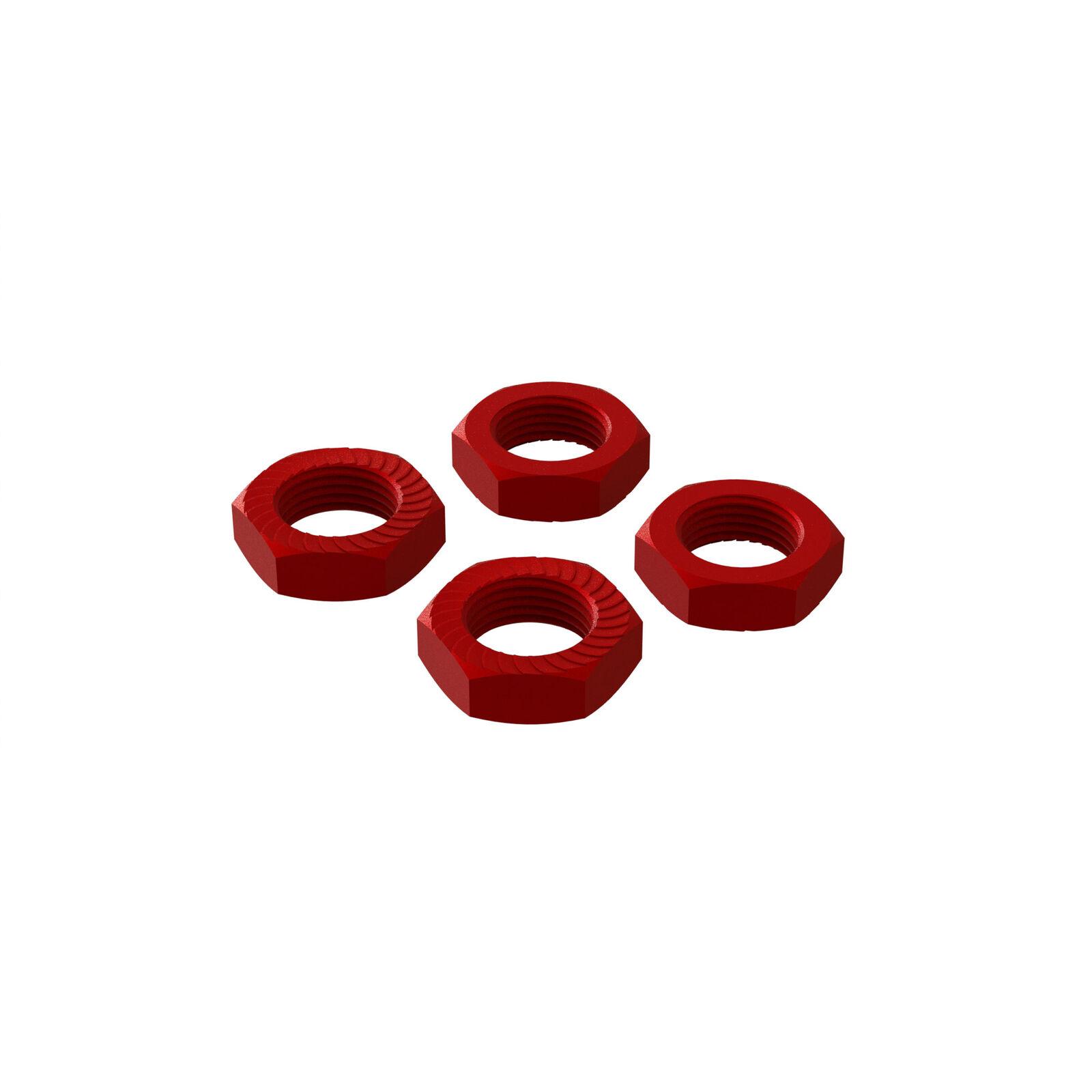 Aluminum Wheel Nut, 17mm Red (4)