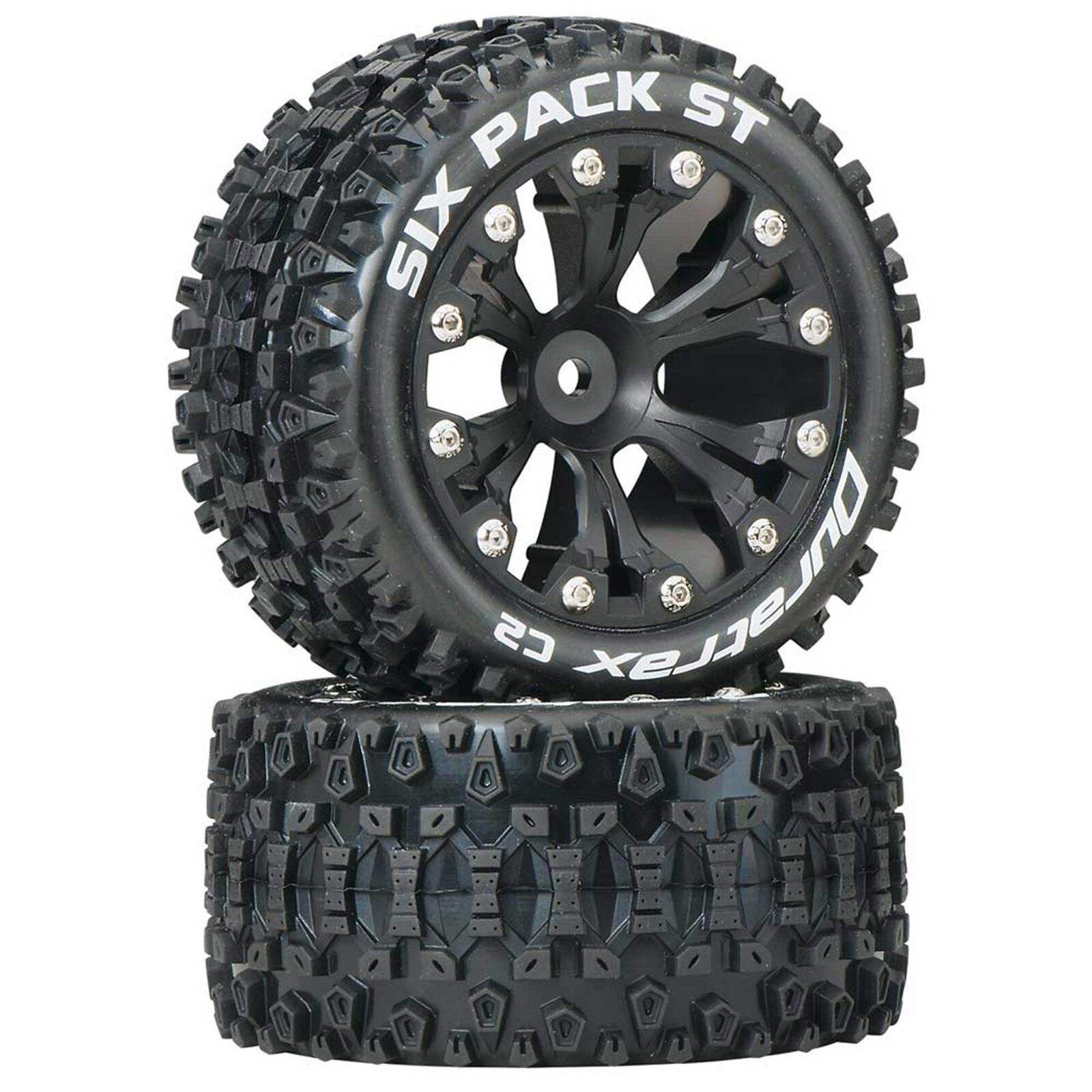 """Six Pack ST 2.8"""" 2WD Mounted Rear C2 Tires, Black (2)"""