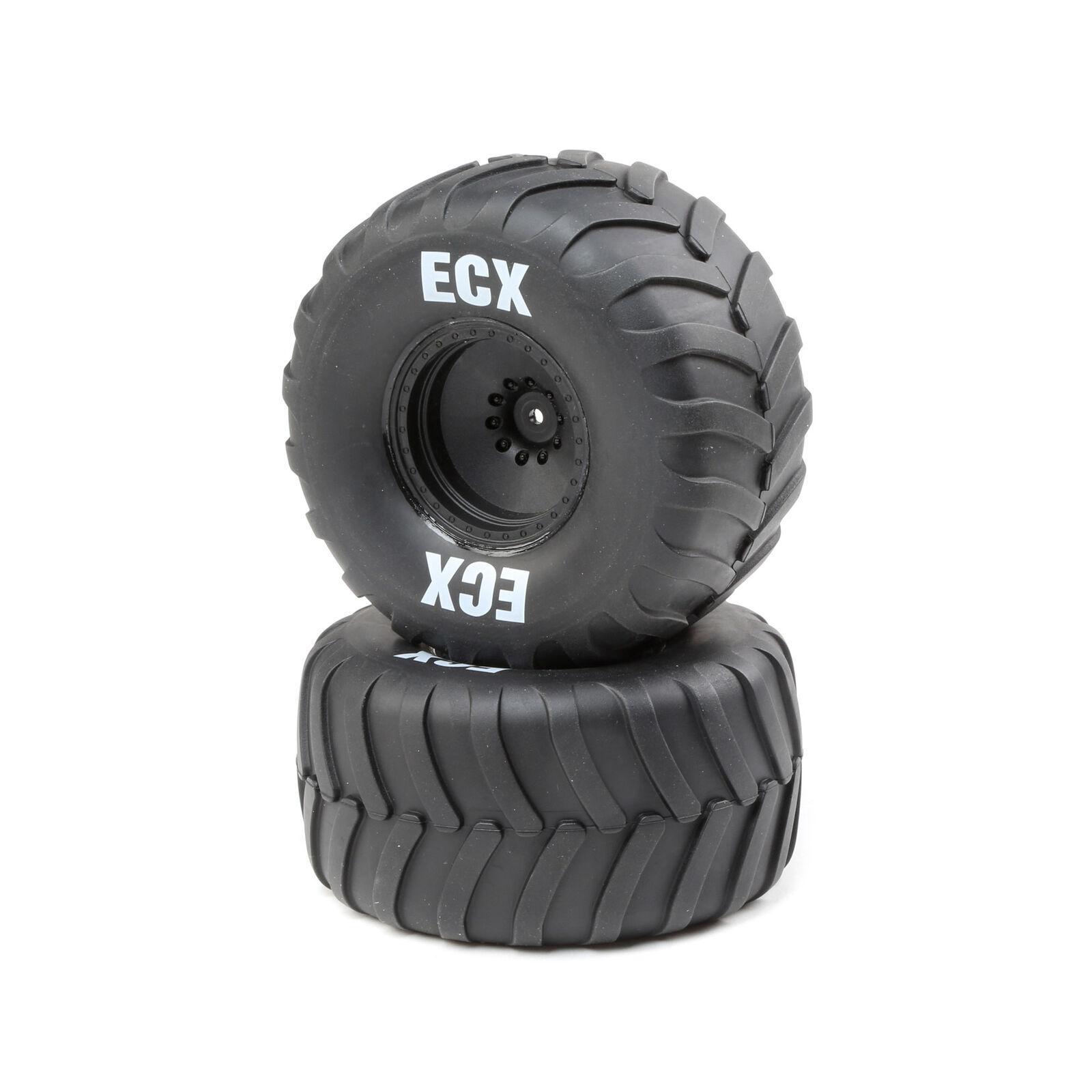 R/L Premounted Tire, Black Whl (2): 1/10 2WD AMP Crush