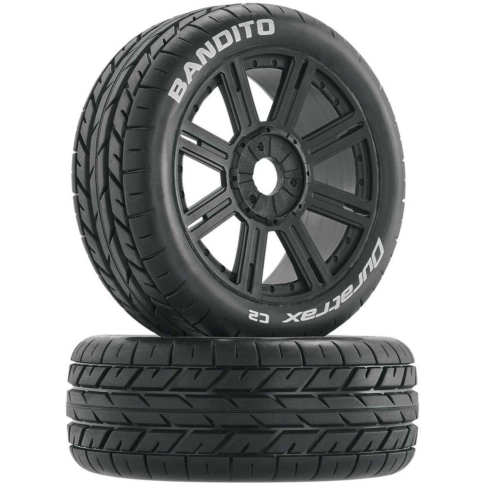 Bandito 1/8 Buggy Tire C2 Mounted Spoke Tires, Black (2)