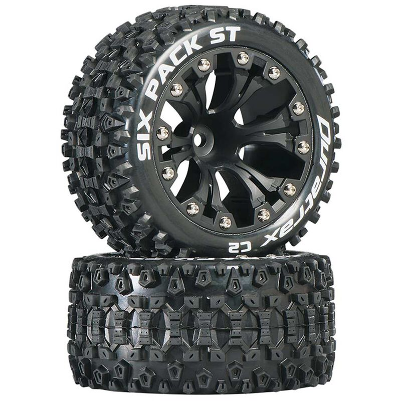 "Six Pack ST 2.8"" 2WD Mounted 1/2"" Offset Tires, Black (2)"