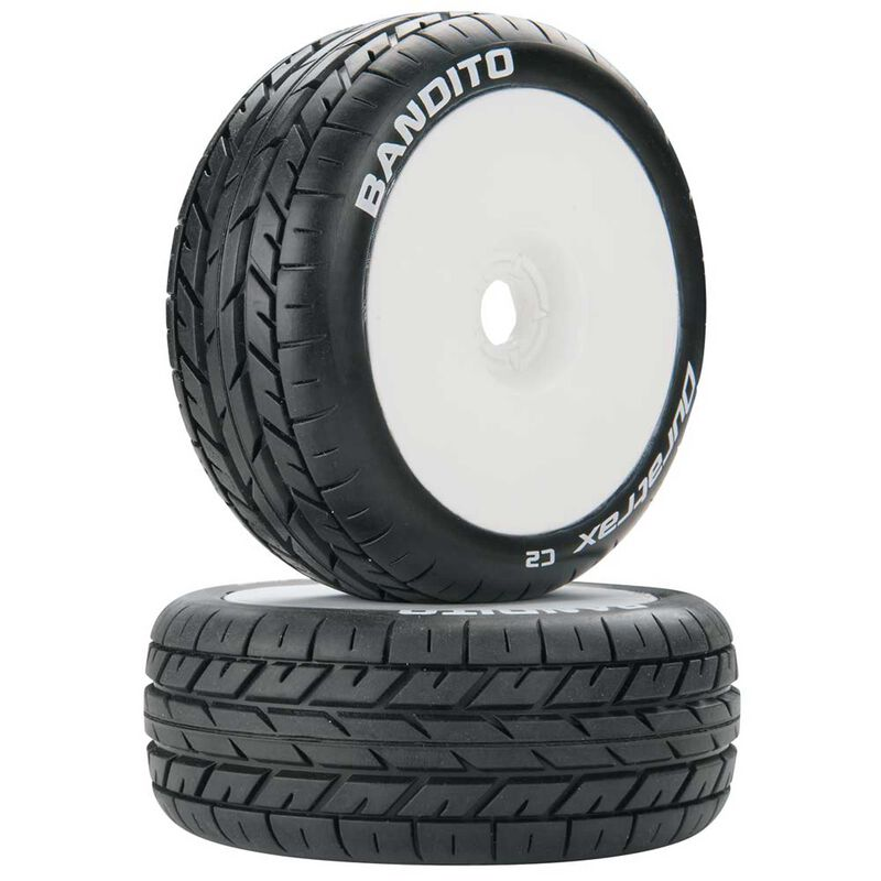 Bandito 1/8 Buggy C2 Mounted Buggy Tires, White (2)
