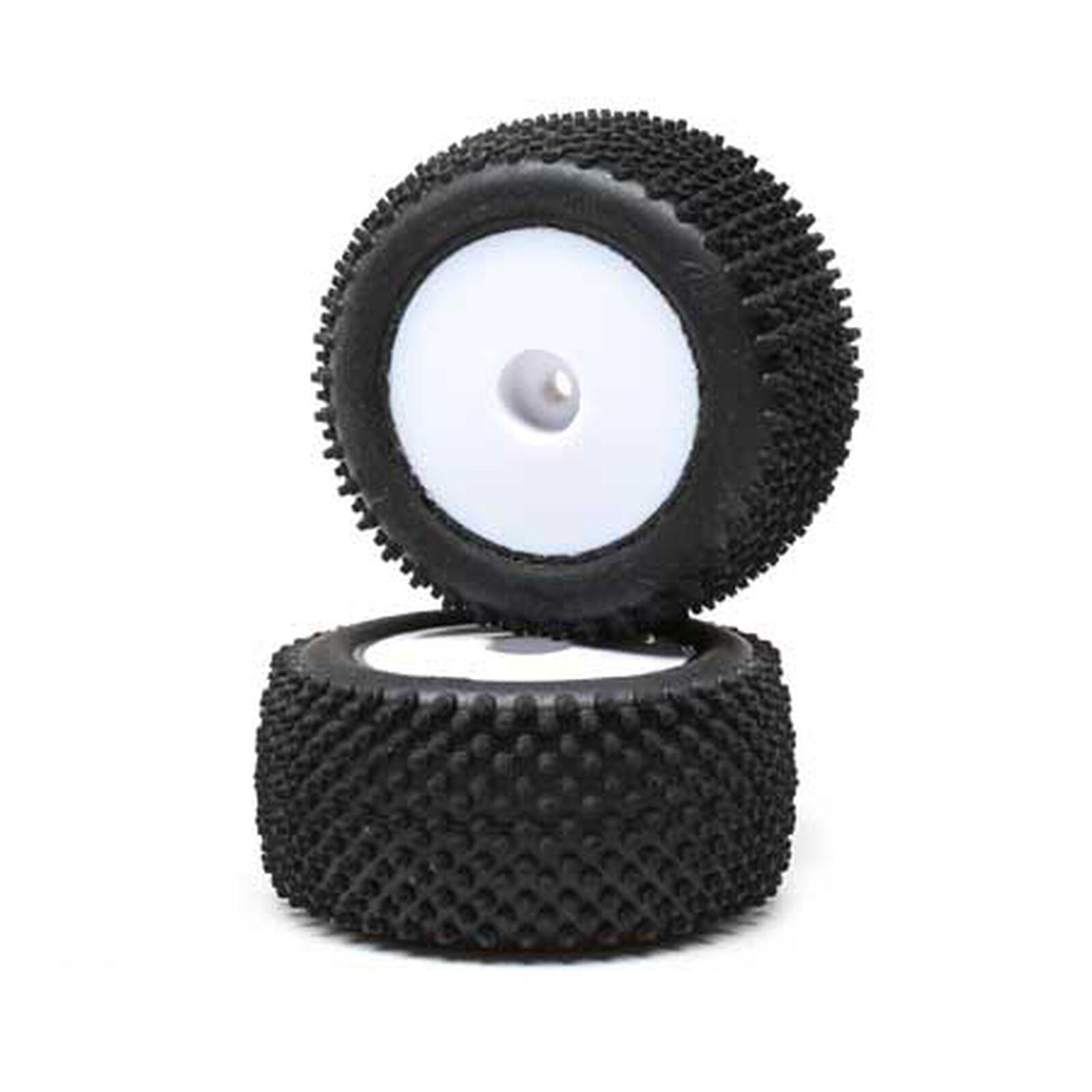 Pin Tires, Rear, Mounted, White (2): Mini-T 2.0
