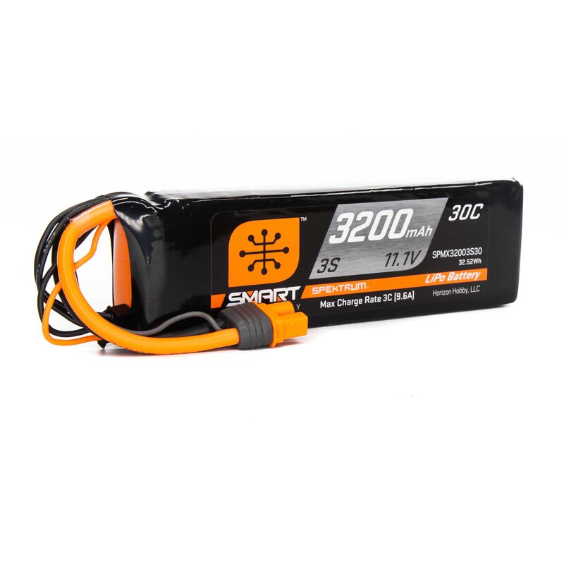 11.1V 3200mAh 3S 30C Smart LiPo Battery: IC3
