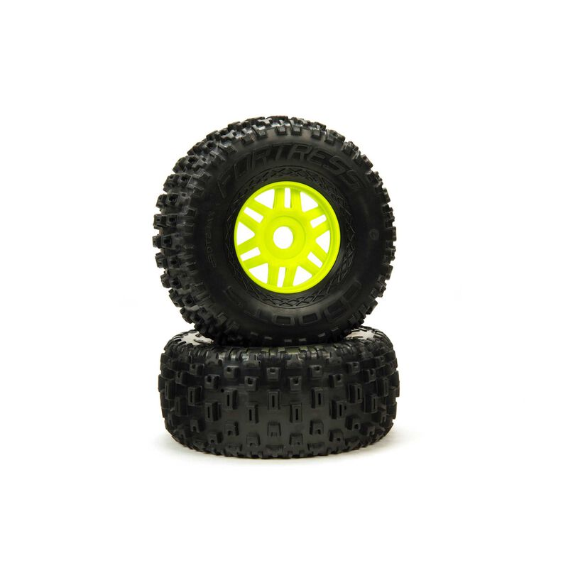 1/8 dBoots Fortress Front/Rear 2.4/3.3 Pre-Mounted Tires, 17mm Hex, Green (2)