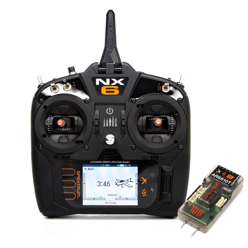 NX6 6-Channel DSMX Transmitter with AR6610T Telemetry Receiver, Intl.
