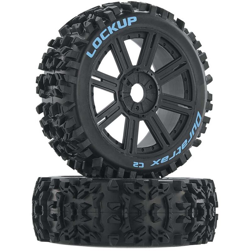 Lockup 1/8 C2 Mounted Buggy Spoke Tires, Black (2)