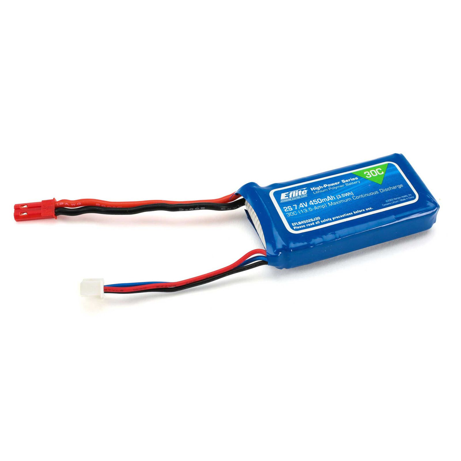 7.4V 450mAh 2S 30C LiPo Battery: JST