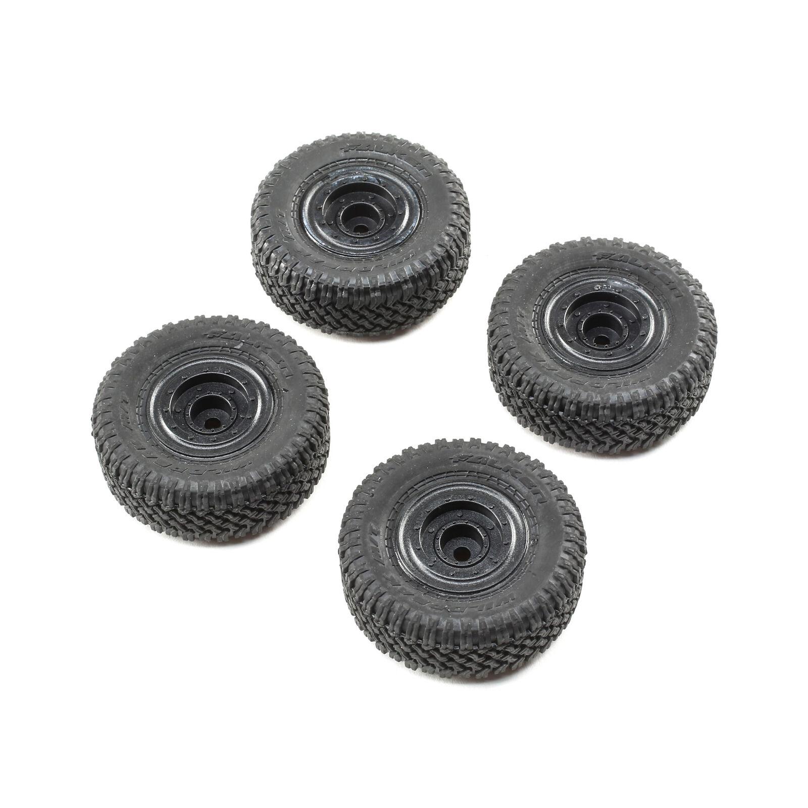 Front/Rear Premounted Tire, Black (4): 1/24 Barrage RTR